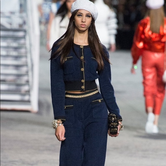 Chanel Cruise 2019 La Pausa Navy Cardigan Pants